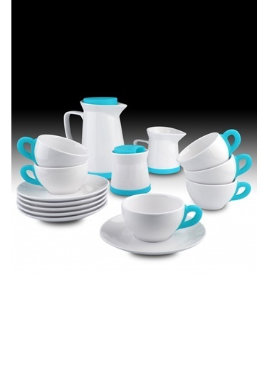 Kütahya Porselen 17 Parça Çay Seti Mavi Mavi